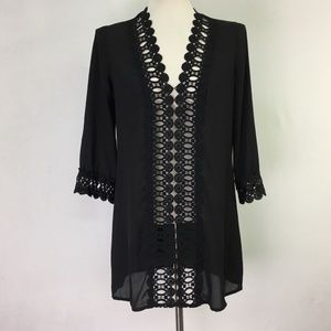 Top Small Womens Black Lace Long 3/4 Sleeves
